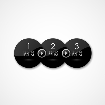 panels: Vector black round glossy panels