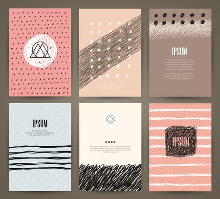 Conjunto de folletos con elementos de diseño dibujado a mano. plantillas vectoriales. De moda fondos, modelos y texturas.