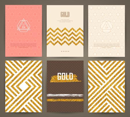Ensemble de brochures avec des éléments de conception dessinés à la main. modèles vectoriels. Trendy milieux, motifs et textures.