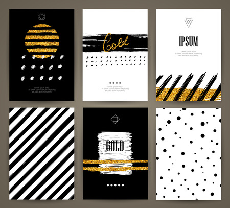 element: Set of brochures with hand drawn design elements. Vector templates. Trendy backgrounds, patterns and textures.
