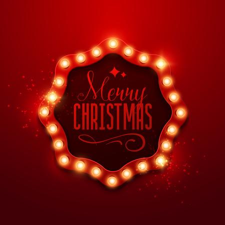 signage: Christmas background. Retro Christmas light sign. Vector illustration. Illustration