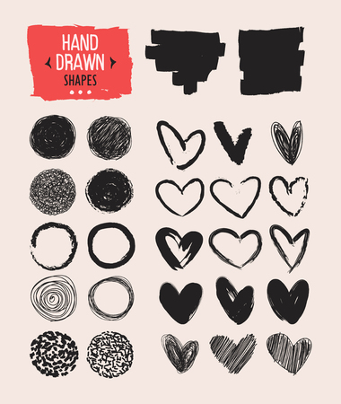 Set of hand drawn shapes. Vector design elements.