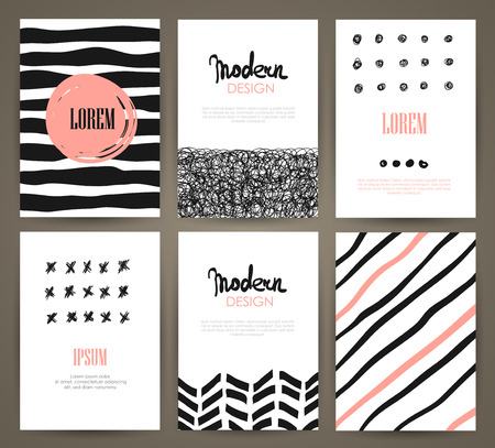 Vector - Set of brochures with hand drawn design elements. Vector templates. Trendy backgrounds, patterns and textures.