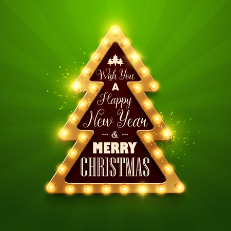 Christmas background. Retro Christmas light sign. Vector illustration. Illustration