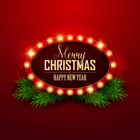 Christmas Background Retro Light Sign Vector Illustration Stock