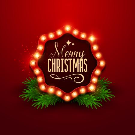 glamorous: Christmas background. Retro Christmas light sign. Vector illustration. Illustration