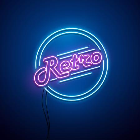 Neon retro sign. Vector illustration. Stock Illustratie