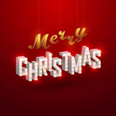 Christmas background. Retro Christmas light sign. Vector illustration. Ilustração