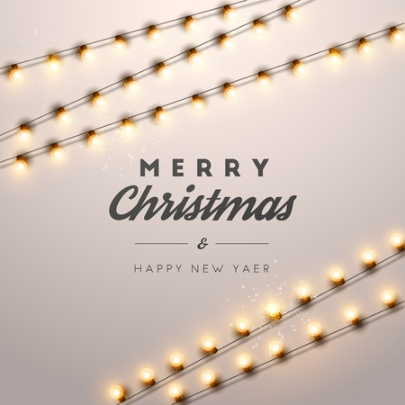 Christmas background with Christmas lights. Vector illustration.