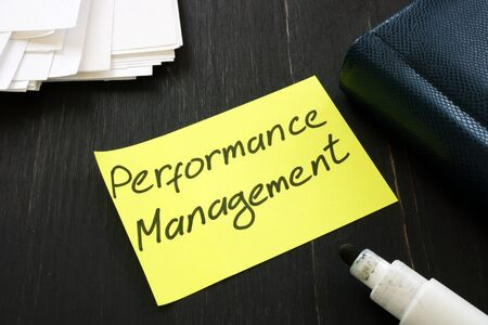 Conceptual hand written text showing Performance management Stockfoto