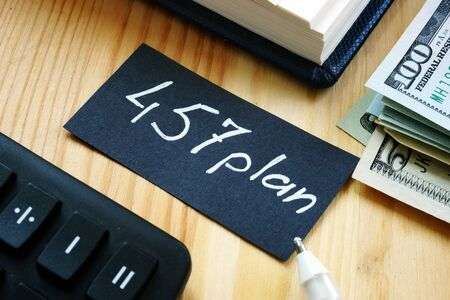 Conceptual hand written text showing 457 plan Stock Photo