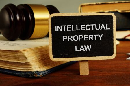 Writing note showing the text intellectual property law
