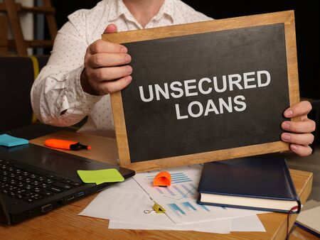 Business photo shows printed text unsecured loans