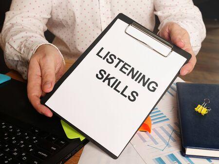 Conceptual hand written text showing Listening Skills 版權商用圖片