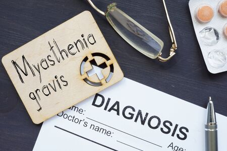 Myasthenia gravis is shown on the conceptual medical photo