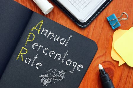 Annual percentage rate APR is shown on the conceptual business photo
