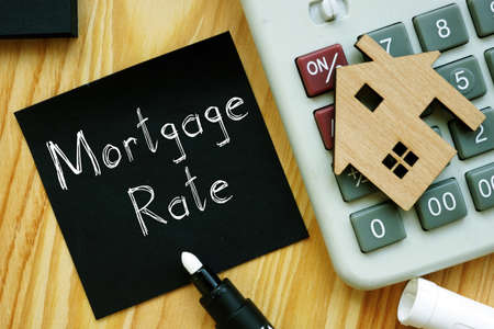 Mortgage Rate is shown on the conceptual business photo Banque d'images
