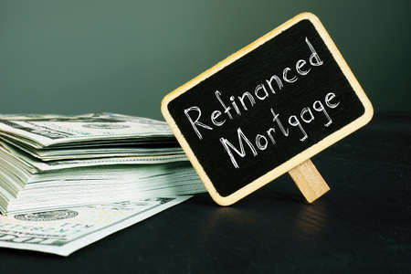 Refinanced Mortgage is shown on the conceptual business photo