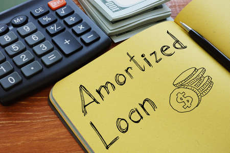 Amortized Loan is shown on the conceptual business photo