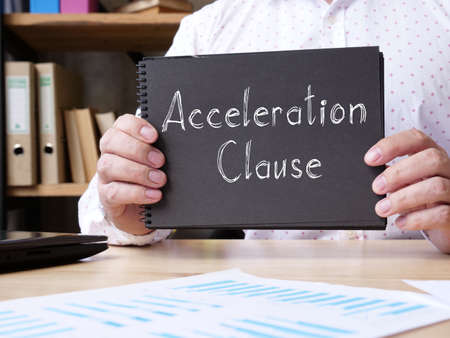 Acceleration Clause is shown on the conceptual business photo