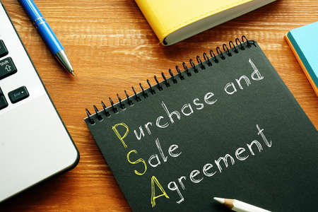 Purchase and Sale Agreement PSA is shown on the conceptual business photo