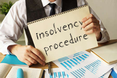 Insolvency procedure is shown on the conceptual business photo Stock fotó