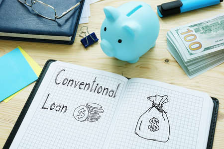 Conventional loan is shown on the conceptual business photo