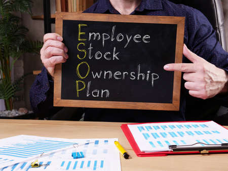 Employee Stock Ownership Plan ESOP is shown on the conceptual business photo Stock Photo