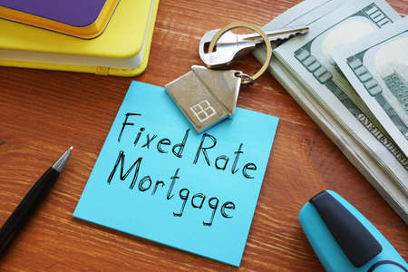 Fixed Rate Mortgage is shown on the business photo using the text