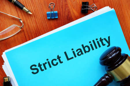 Strict liability is shown on a business photo Stock Photo