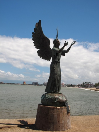 Angel Art Statue on the Mexican Boardwalk Stock Photo