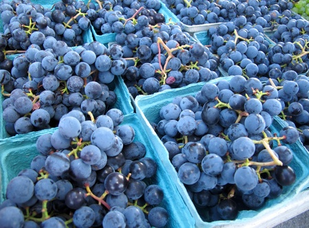 Close Up of Grape Bunches at a Farmer Market photo
