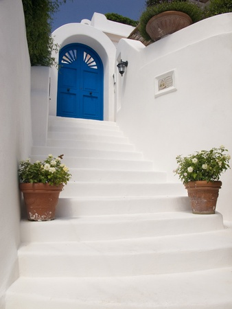 Flight of whitewash steps leading up to a blue door.  Two potted plants on the side.  Typical seaside Mediterranean architecture.