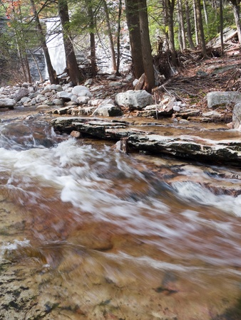 Stream in Slow Shutter with Waterfall in the Background