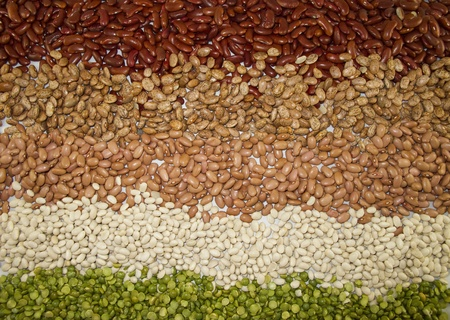Horizontal Row of Dry Beans (split green pea, kidney, navy and pinto) Stock Photo