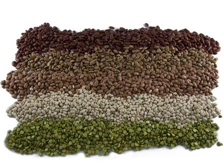 Row of Dry Beans (split green pea, kidney, navy and pinto) Stock Photo