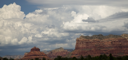 View of Red Rocks of Sedona  Bell Rock  and cloudscape photo