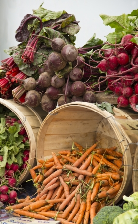 Colorful organic produce at the Farmer Stock Photo