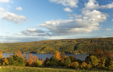 Autumn Landscape Scene  Keuka Lake, Finger Lakes Region in New York  Stock Photo