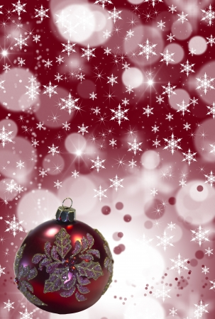 Red Christmas Tree Ornament  with stars, snowflakes and copy space