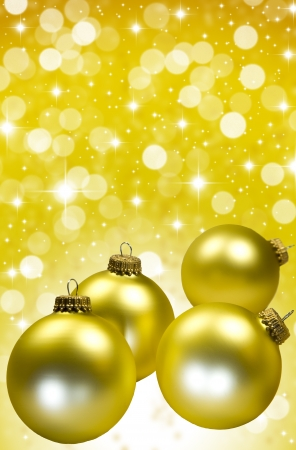 Gold Christmas Tree Ornaments  with stars and copy space  Stock Photo