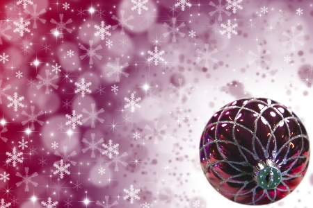 Red Christmas Tree Ornament with stars, snowflakes and copy space  Stock Photo