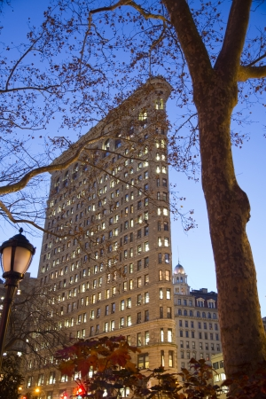Detail of the Flatiron Building at Night  New York City