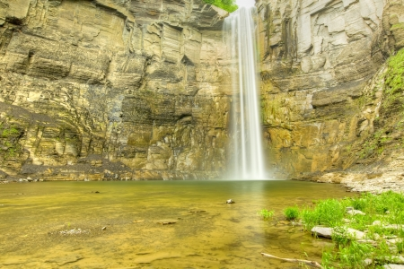 time lapse: Time Lapse Waterfall in a Gorge  soft motion blur