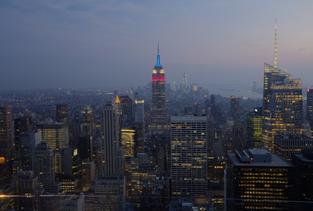 Aerial View of Empire State Building at Night  New York City