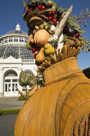 Arcimboldo Fruit and Vegetable sculpture in front of the Greenhouse at New York Botanical Garden