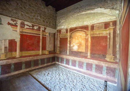 Villa of Emperor Augustus, recently excavated. Ancient Roman history and archaeology. Some grain due to low light Stock Photo