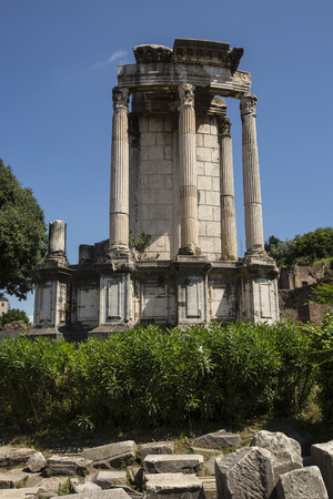 Detail of standing columns from an ancient Roman ruin in the Forum, Italy, Rome. photo