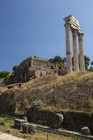 Ancient Roman forum with ruined columns - Rome, Italy Stock Photo - 31605376