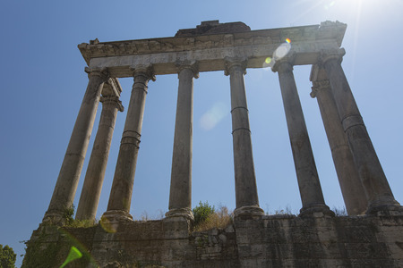 Temple of Saturn in the Roman Forum - with sun flare